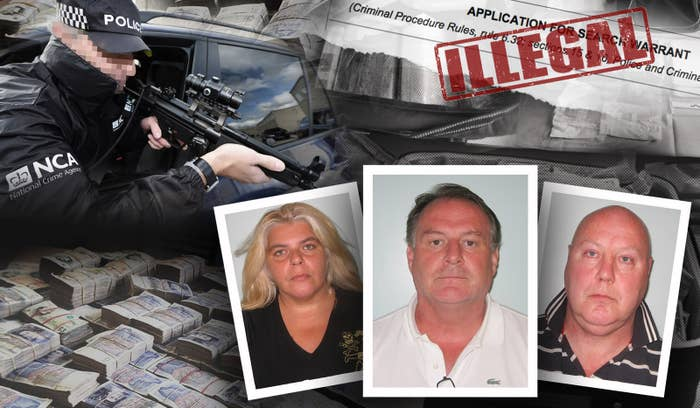The National Crime Agency used 18 illegal warrants to raid drug traffickers Chrysi Minadaki, Kevin Hanley, and John Fowler (left to right).