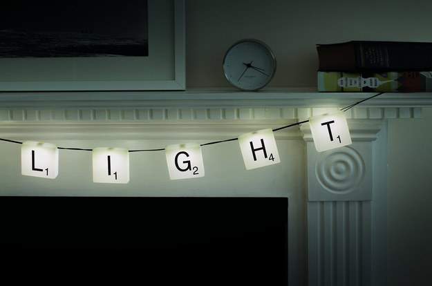 Customizable banner-style lights for people who love to play Scrabble.