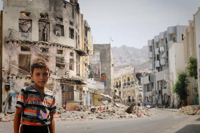"""""""Behind me are the remains of beautiful places I used to go to, people I used to greet every morning when I got back from school,"""" Omarr said. """"Everything is gone. What remains are only memories. Please stop the war everywhere in Yemen."""""""