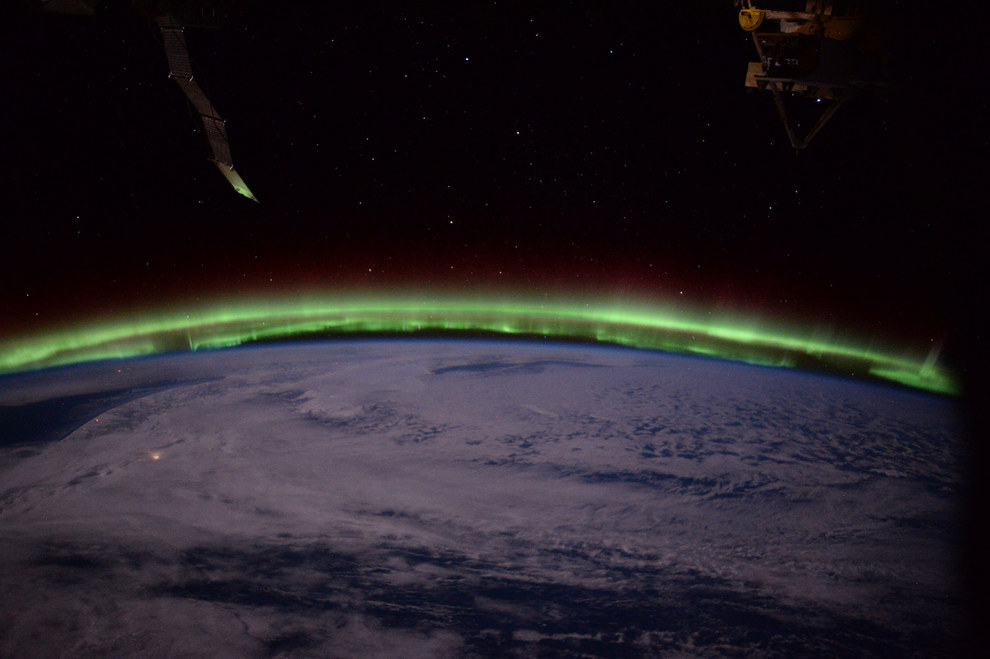 Some of the most breathtaking photos come from the unique perspective astronauts get of aurora on the horizon.