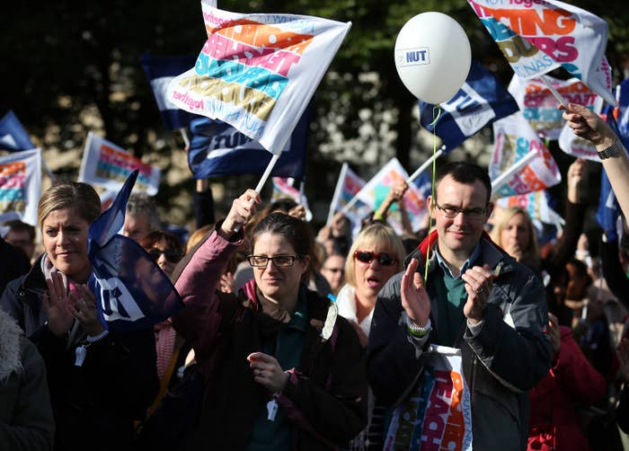 Striking teachers at a rally in Bristol in 2013 organised by the NUT and NASUWT teaching unions.