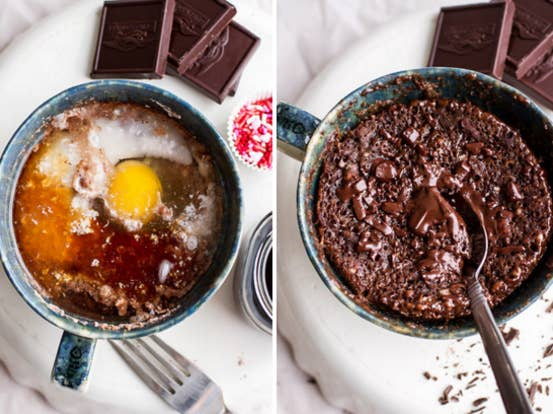 Like this molten-chocolate microwave mug cake.