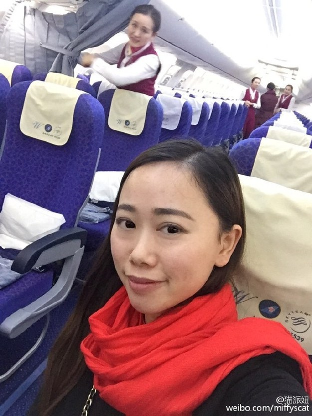 "A flight attendant greeted her saying, ""This is your private flight,"" she told BuzzFeed News. Zhang sat down in a random seat, had all the in-flight meals she wanted, and had a crew member share her tangerines before sleeping through most of the trip."