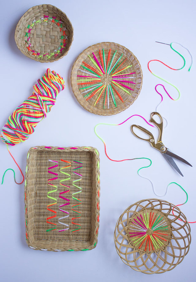 Give plain wicker bowls and plates a serious upgrade with some simple stitches.