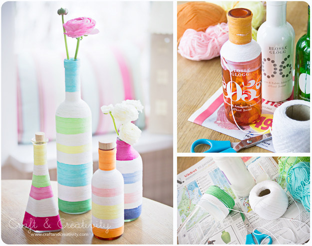 Old bottles can become new again with some multicolored yarn.