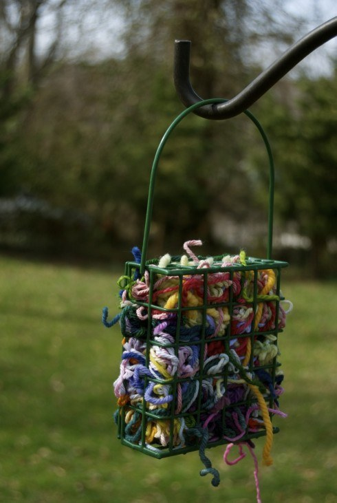 If you're totally done with your scraps, leave them in a bird feeder and watch colorful nests start popping up in nearby trees.