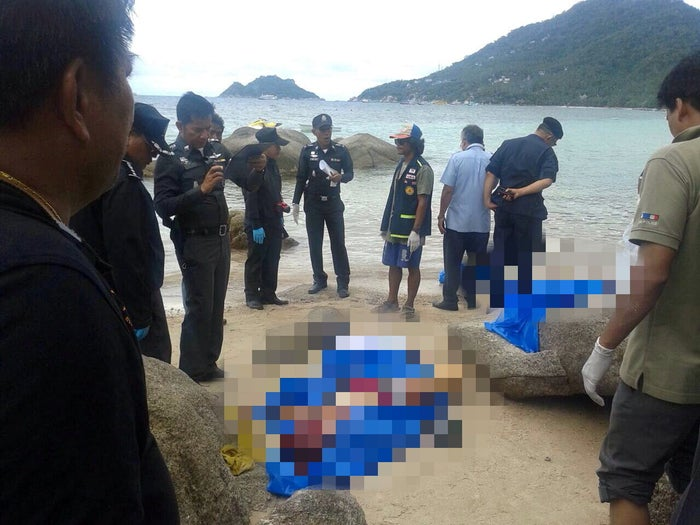 The scene at Sairee Beach, Thailand, where the couple were found dead