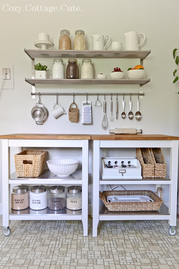 Nudge two kitchen carts together for a brand-new counter, instantly.
