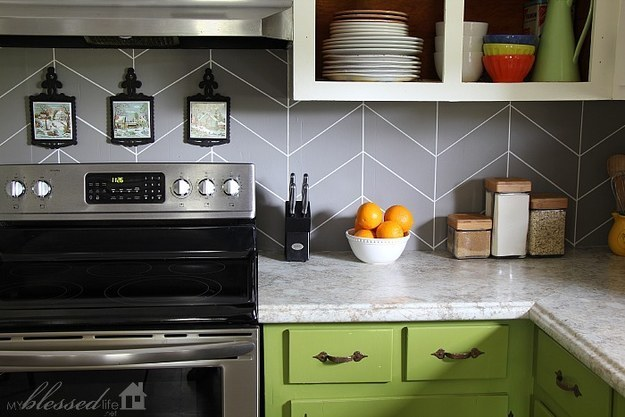 If plastic or peel and stick isn't really your thing, you could always paint your backsplash with a cool pattern.