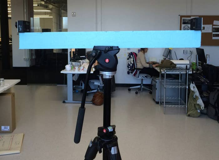 A piece of packing foam was used to figure out how far apart we could place the cameras and still produce a 360-degree image.