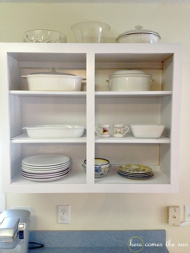 If you can't paint your cabinets, a layer of removable contact paper can do wonders for them, too.