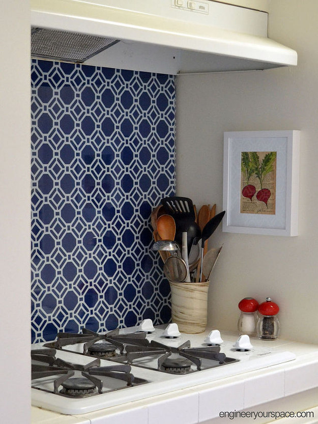 You can also use this technique to make an accent wall. (This is covered with tempered glass to protect it from the stove's flames.)