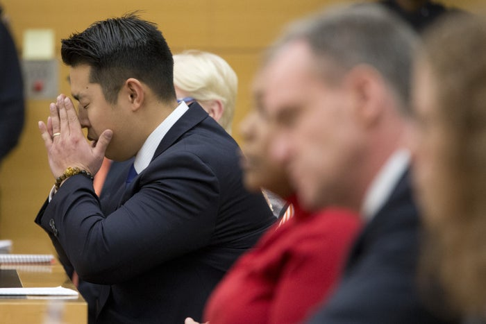 Peter Liang reacts Thursday as the verdict is read during his trial on charges in the shooting death of Akai Gurley.