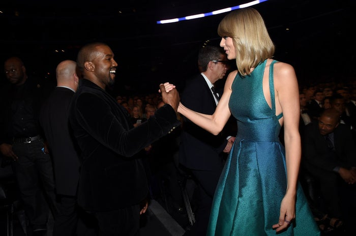 West and Swift attend the 57th Annual Grammy Awards in 2015.