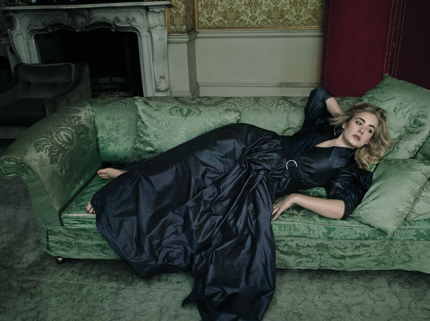 Here she is casually lounging on a fancy couch like a damn victorian queen.