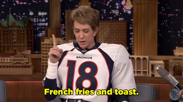 But it was the rapid fire round that brought out the more interesting side of Peyton. He revealed his fave pre-game meal...