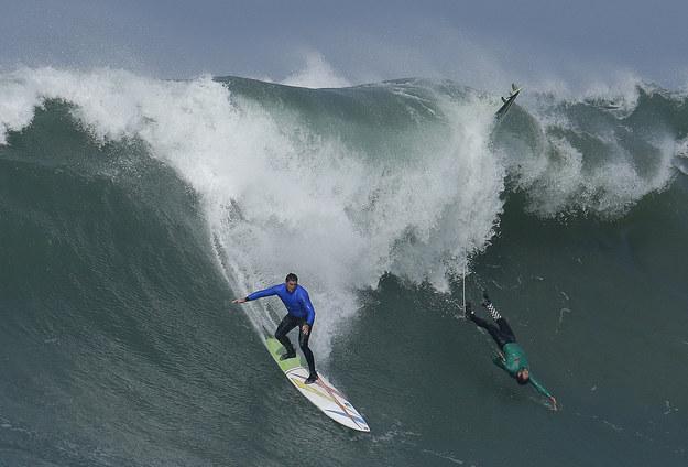 Elite Surfers Take On The Mavericks Big Wave Surfing Competition