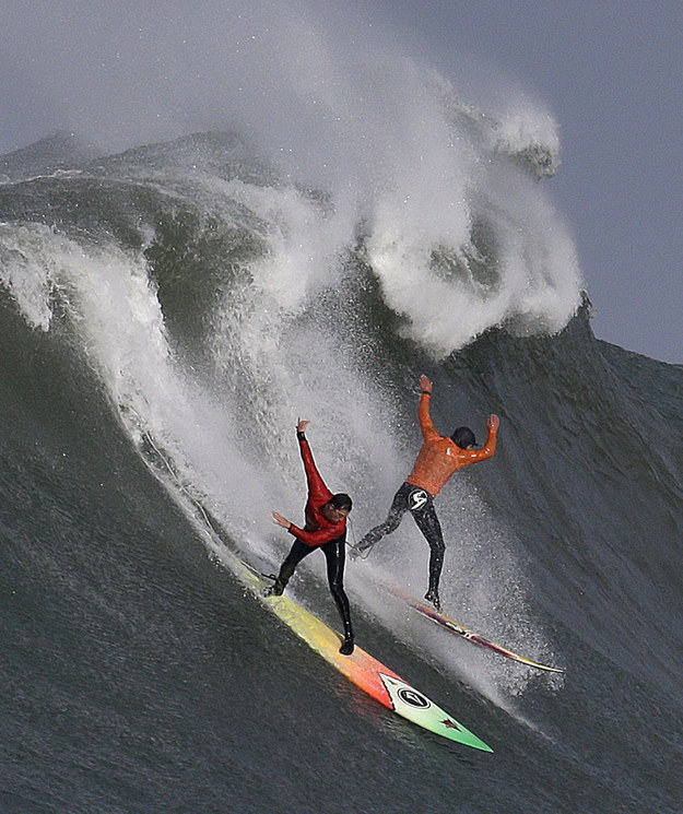 The contest, which has a $125,000 prize pool, is made up of heats, during which surfers try to ride the large waves.