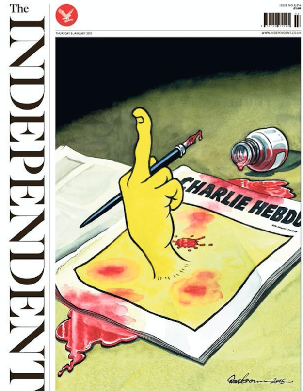 This cartoon, by The Independent's Dave Brown, came after the Charlie Hebdo shootings in Paris in January 2015.