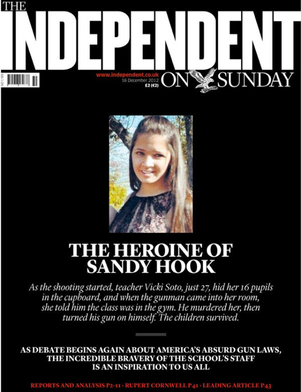 "An unusual, almost magazine-style treatment for ""The heroine of Sandy Hook"", 16 December 2012."