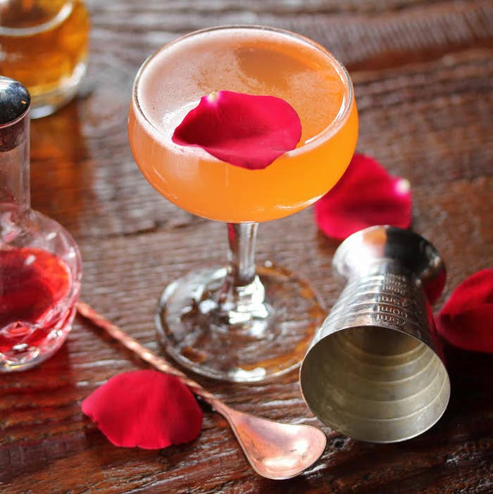 A cocktail that gives you roses? We WILL marry you.Recipe:* 1 oz Strawberry-Sencha Tea Infused Vodka* .5 oz Aperol * .5 oz Lemon * .25 oz Simple Syrup* Fill to the Top With Sparkling WineFull instructions here.