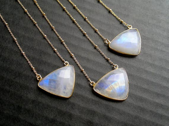 23 delicate moonstone necklaces youll never take off 1 these triangular beauties mozeypictures Images