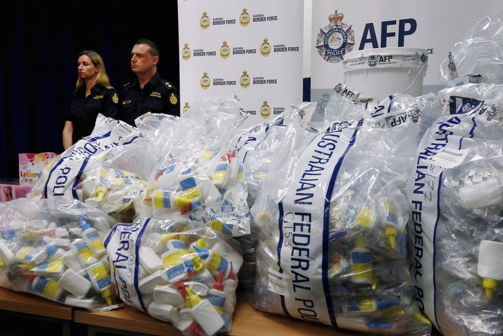 """The liquid methamphetamine, also known as """"ice,"""" was concealed in a variety of packaging, including glue bottles."""