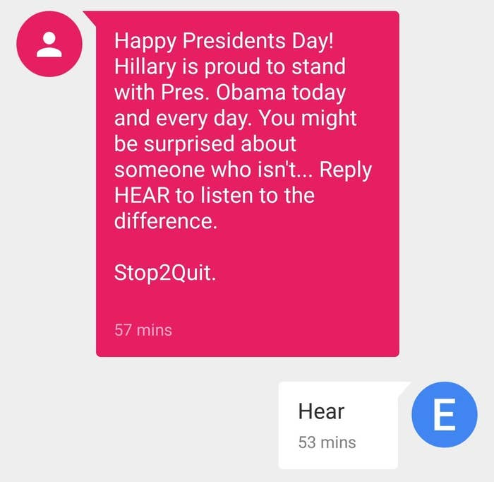 How the text message appeared on a BuzzFeed News reporter's Android phone.