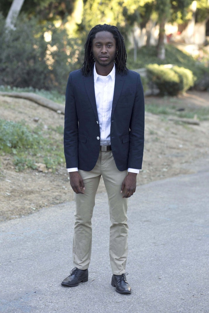 """Thoughts while dressing up: I felt pretentious, uncomfortable, and embarrassed, especially because of the blazer. A certain Kanye West line came to mind when he says, """"So I don't listen to the suits behind the desk no more / You n****s wear suits 'cause you can't dress no more"""" on """"Last Call."""" I softened my walk to mute the piercing click-clack of my shoes, my belt had to be constantly adjusted, and on top of it, these pants were giving me a slight wedgie.Experiences: The woman who worked at 7-Eleven greeted me with a smile and instantly asked, """"What is THIS for? Meeting or interview?"""" """"It's for work,"""" I said, as I grabbed my change for the bus. She raised her eyebrows and subtly nodded her head. This was within the first 10 minutes of my day, and I thought to myself, Damn, this is going to be an eventful two weeks. My bus pass had insufficient funds, but before I could use the change I got at 7-Eleven, the driver told me it was OK. That was pretty tight. I got to save my change. For lunch, I headed to BLD, a kind of upscale-ish lunch spot. The service was cool — the server seated me at the front of the restaurant and I received my order ahead of two gentlemen who were there before me. I walked over to Chase Bank and the security guard not only opened the door for me but also gave me a heads-up about signing a waitlist to be assisted by a teller. On my way out after I asked him where the ATM was he chased me down to inform me about the available parking, assuming that I drove, but I had walked."""