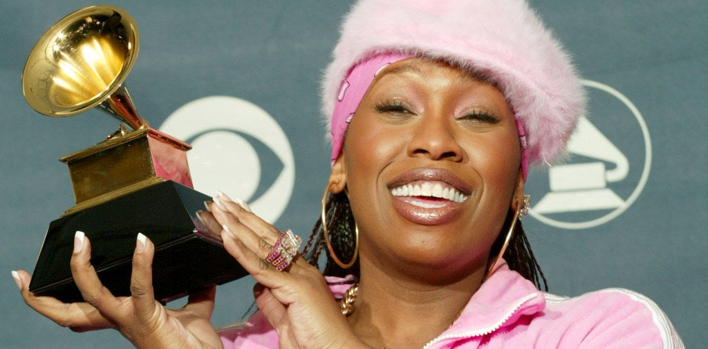 Missy Elliott poses with her Grammy for Best Female Rap Solo Performance on Feb. 23, 2003.
