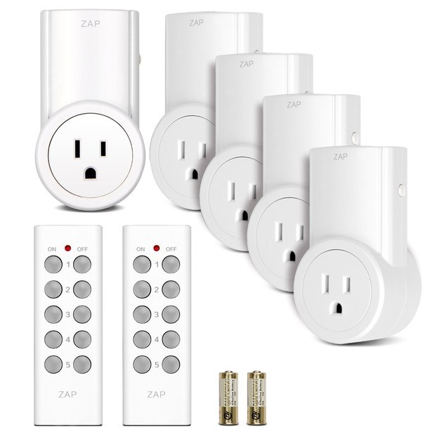 This five-pack of remote-controlled outlets that allow you to turn your home appliances on and off ($29.98).