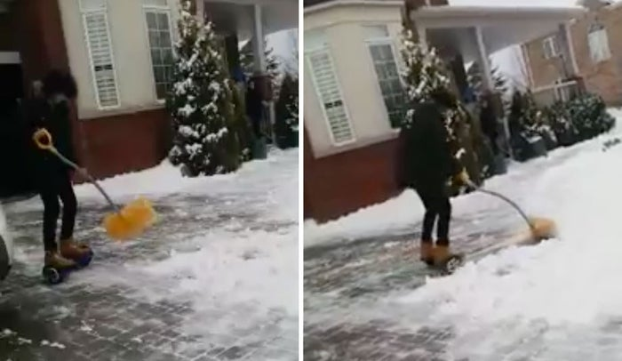 Julius de Paz is a 14-year-old from Burlington, Ontario. He got a hoverboard for Christmas, and since then he has been finding ways to work it into all sorts of mundane tasks. His mother recently came home to find him zooming around the driveway with a shovel, clearing the snow.