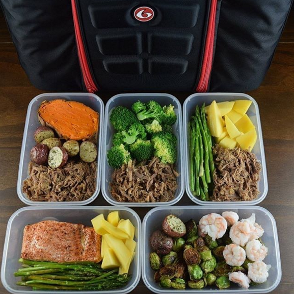 Meal prep doesn't have to mean eating the same thing every day. Mix and match your proteins and vegetables so that lunch doesn't feel repetitive.