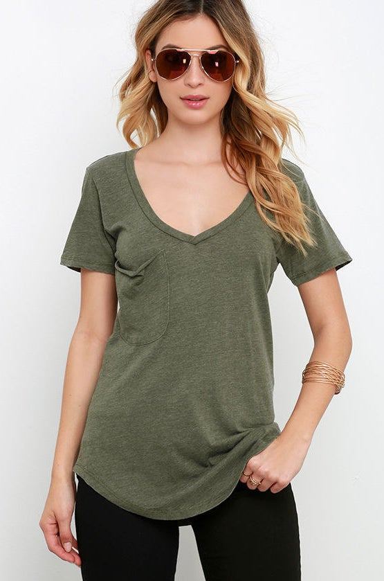Olive Green Tee, $25