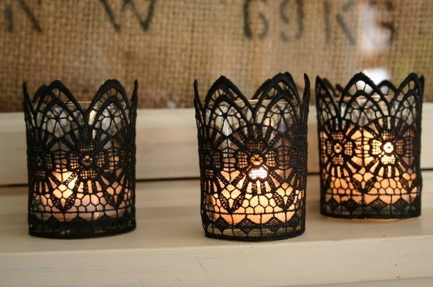 Lace up some votives to create this chic gothic look.