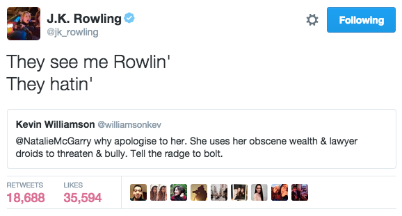 j k  rowling and chamillionaire just had the best twitter