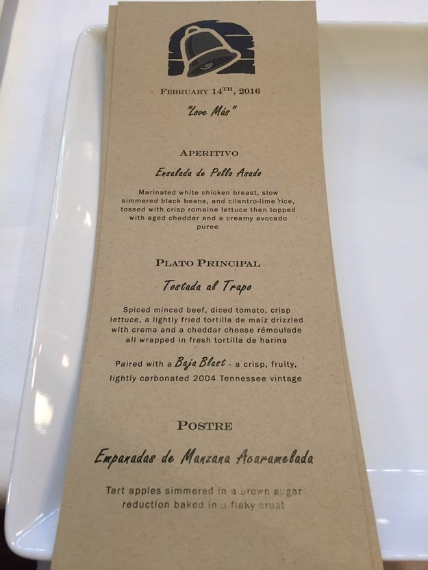 They made a three-course menu with all of their Taco Bell favorites and gave them fancy new names.