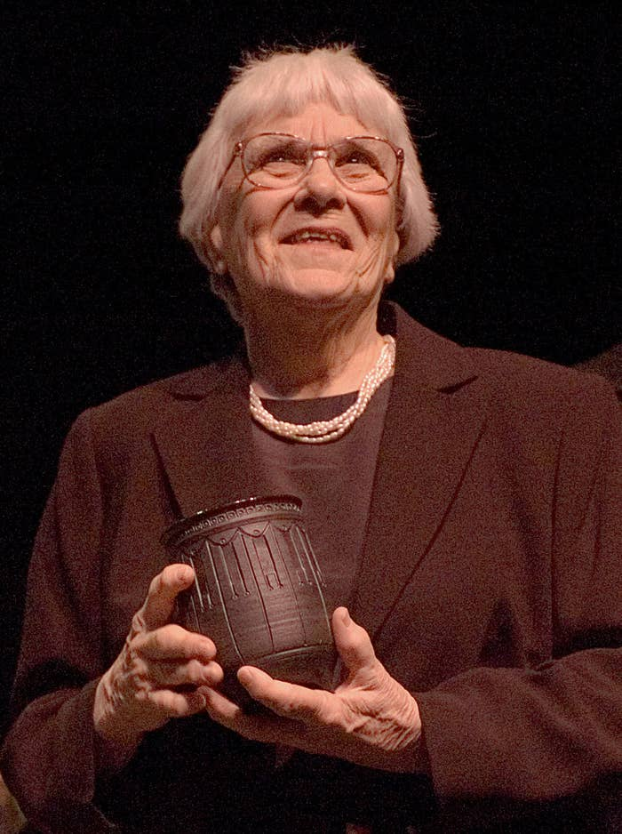 Lee accepts an award in 2007 at the Davis Theater in Montgomery, Alabama.