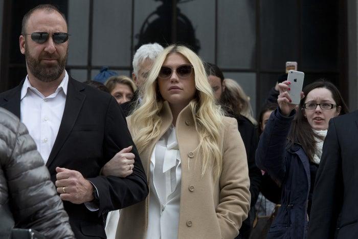 Kesha leaves court Friday.