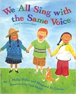 """What It's About: This is a song book that connects kids around the world. The verses highlight differences between kids, illustrated on the pages of the book. The chorus brings all of these kids with many differences together, singing """"We all sing with the same voice. The same song. The same voice. We all sing with the same voice and we sing in harmony."""" Why It's Important: Not only will the music engage kids as young as three, but it also encourages global awareness and connection at a young age. Everyone is different and unique, and this book celebrates those differences while singing together as friends."""