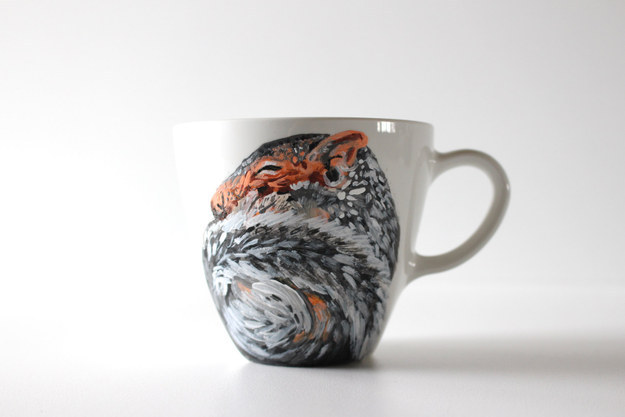 Or drink tea from this hand-painted hibernating squirrel mug.