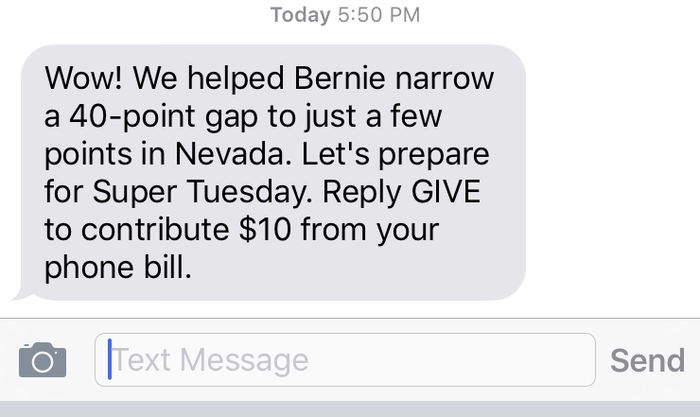 The text to supporters sent on Saturday