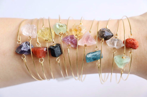These stackable raw crystal bracelets.