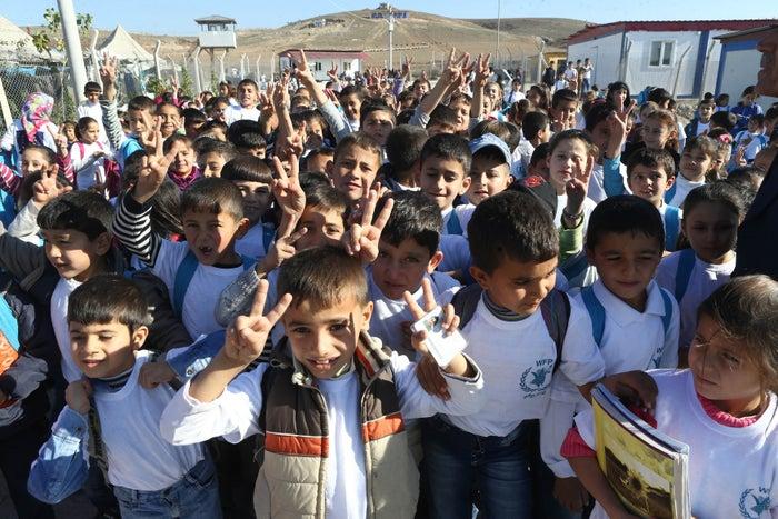 Syrian Refugee children outside a school at the refugee camp in Osmaniye, Turkey.