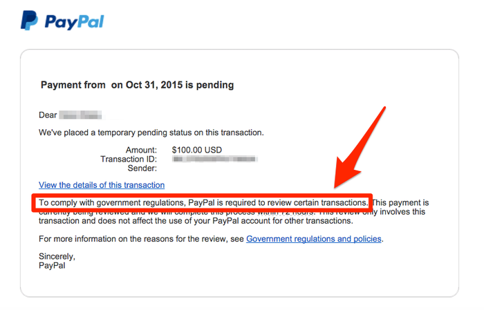 An email from PayPal describing why a Syrian refugee donation is being held for review. This particular payment ended up being rejected.