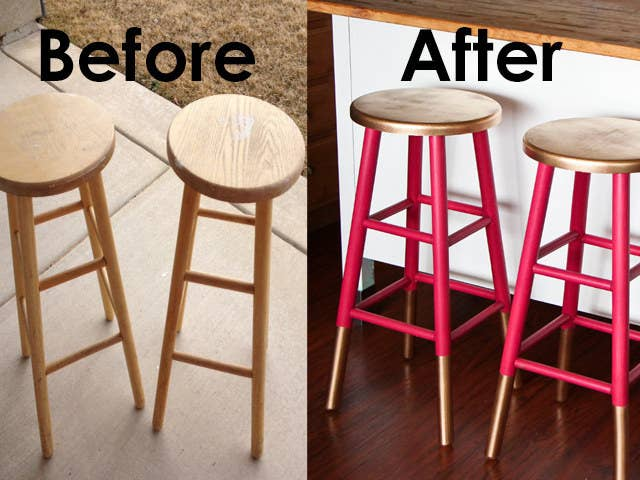 If you don't want to paint their entire piece, you can always accent parts with either spray paint or regular paint. When painting wooden furniture, make sure to 1) clean off any residue, 2) sand everything down, 3) prime it, 4) paint at least two coats with a foam roller, and 5) protect it. See more details here.