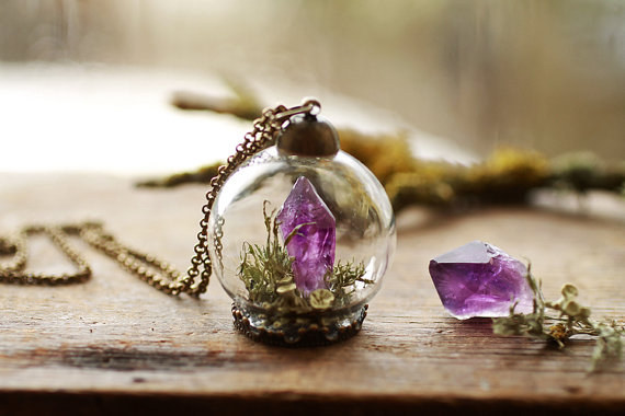 This precious amethyst terrarium necklace.