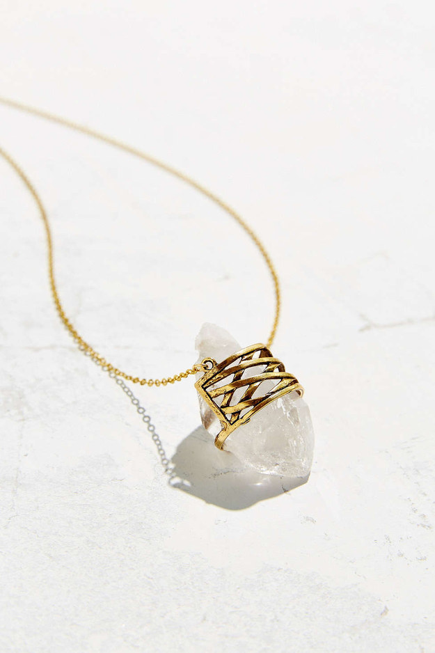 This geo-wrapped quartz pendant necklace.