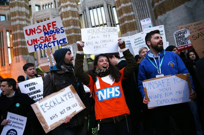 Junior doctors protest outside the Department of Health on 11 February.