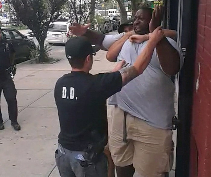 A scene from the confrontation between Eric Garner and and Officer Daniel Pantaleo.